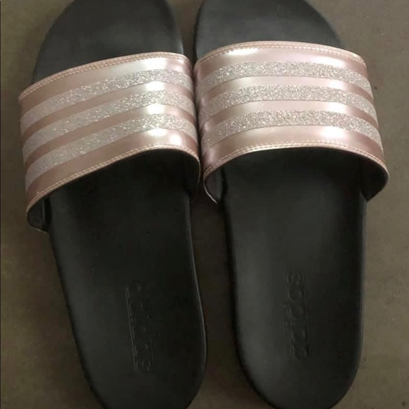 adidas slippers rose gold